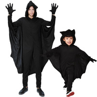 Adult Kids Black Evil Vampire Bat Clothing For Stage Performance For Family Halloween Cosplay Jumpsuits Wings Batman Clothes