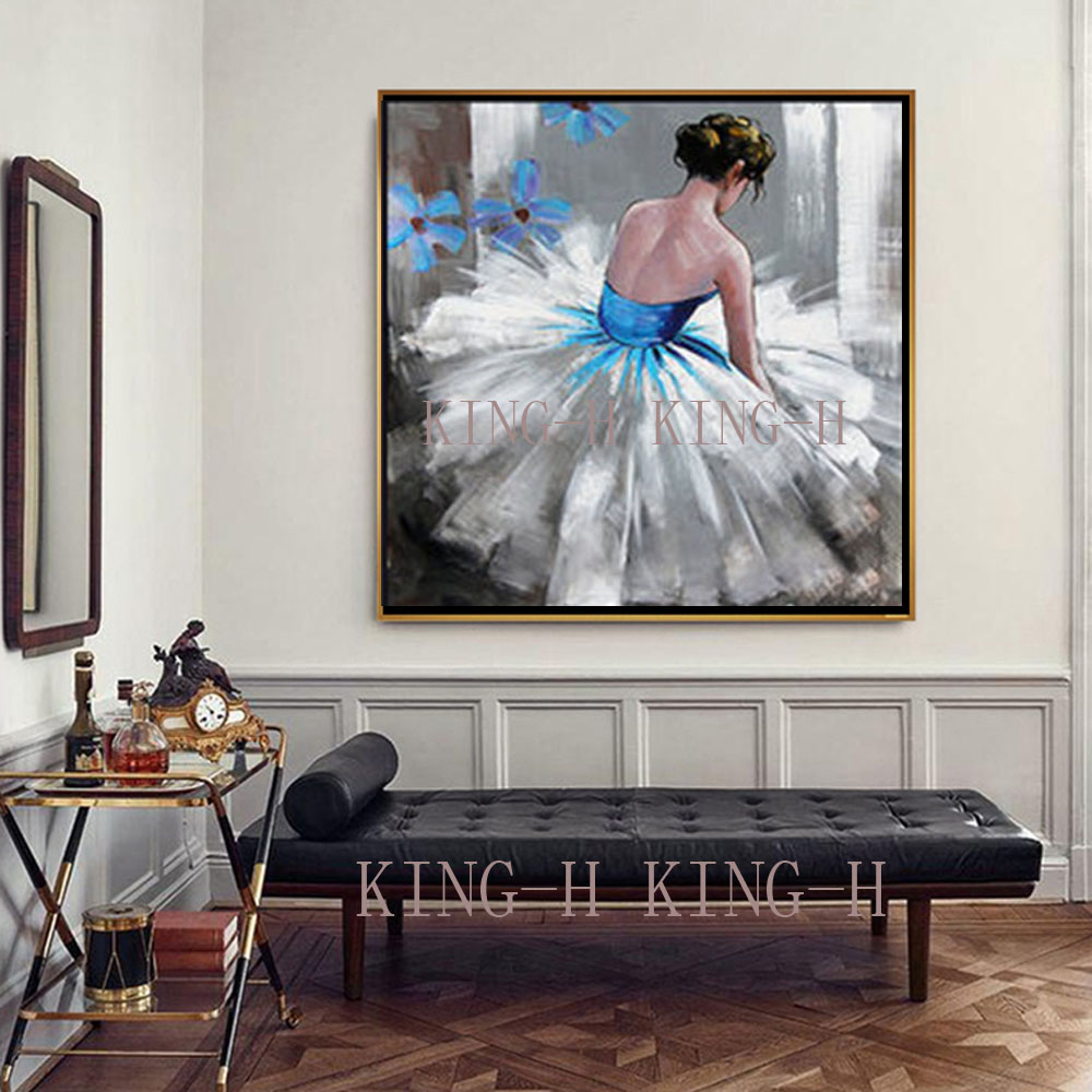 Hand painted oil painting character abstract beauty girl dance ballet gules sofa decorate children room hall hotel bedroom in Painting Calligraphy from Home Garden