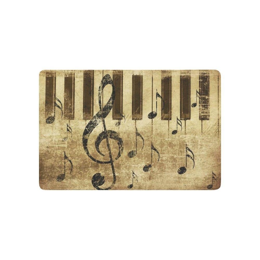 Music Notes Notation Anti slip Door Mat Home Decor, Vintage Retro ...