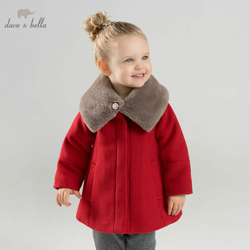 DB8680 dave bella baby wool jacket chidlren fashion coat with shawl infant toddler boutique outerwear maxi wool coat with belt
