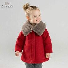 Db8680 데이브 벨라 아기 양모 재킷 chidlren 패션 코트와 목도리 유아 유아 부티크 겉옷