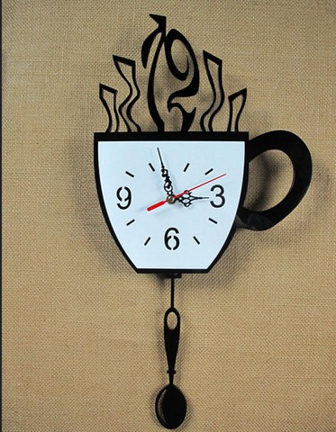 Ffashion Modern Kitchen Decorative Wall Clock Novelty Coffee Cup Pendulum  Clock Unique Gifts ...