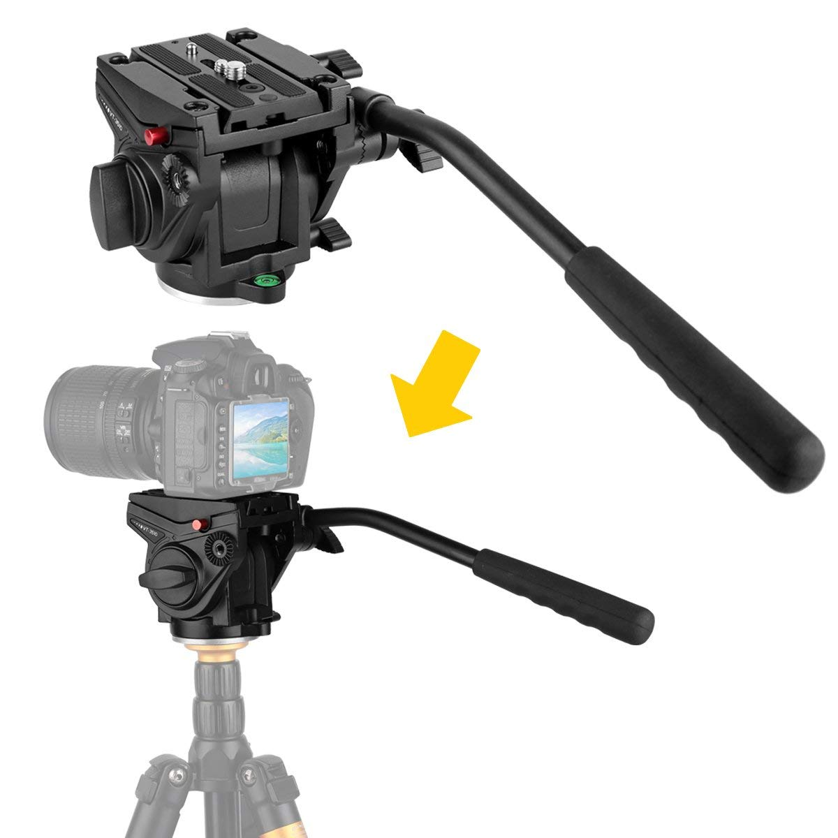 KINGJOY Heavy Duty Video Camera Fluid Drag Head, Fluid Drag Pan Tilt Head For DSLR Camera Video Camcorder Shooting Filming