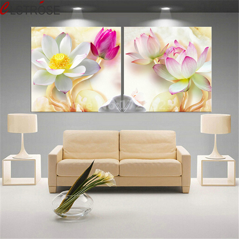 CLSTROSE Unframed 2 Pcs 3D Lotus Pictures Wall Art Canvas Painting Home Decor For Living Room Painting On The Wall HD Posters
