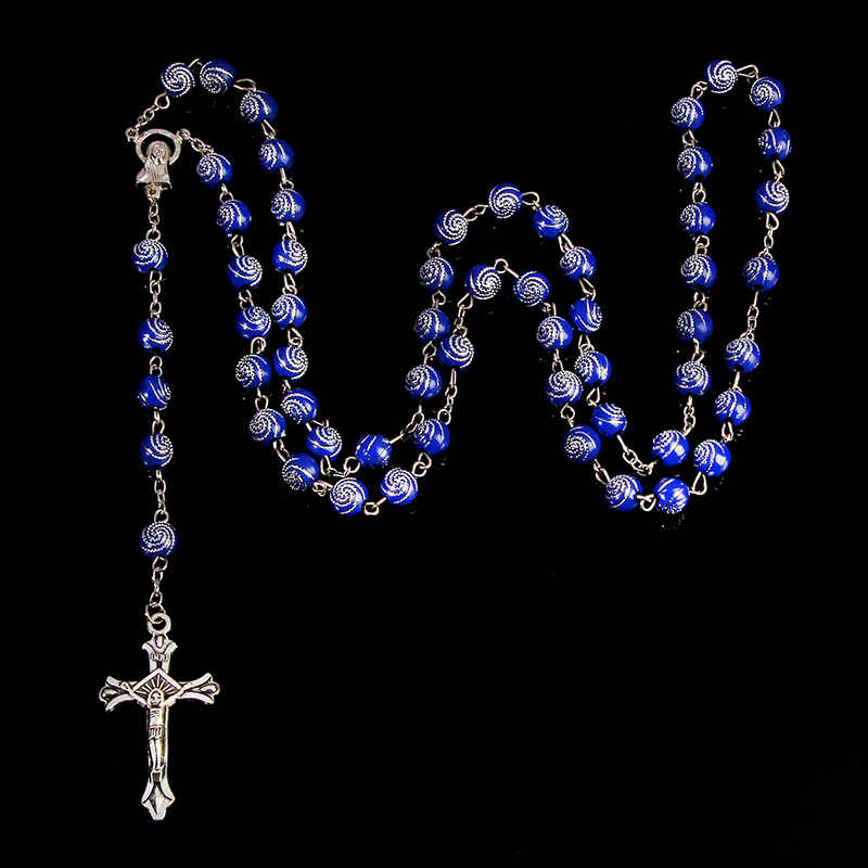 古典的な 8 ミリメートルスパイラルプラスチックロザリオネックレス、サンタマリア祈りネックレス、クリスチャンクロスネックレス宗教ジュエリー。