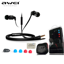 Awei ES600i Auricular En La Oreja Super Bass auriculares Estéreo con Micrófono de calidad Original Bolsa de Audición Del Oído para el iphone/iPOD/Android Samsung