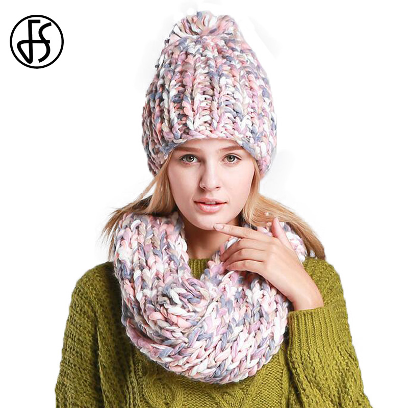 3213dcf7bcc FS Winter Hat Scarf Set Girls Pink Black Fashion Knit Warm Beanie For Women  2018 Skullies Thicken Female Caps Bonnet Femme