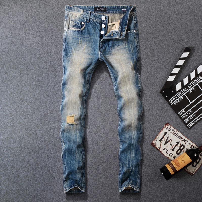 2019 Newly Fashion Men Jeans Blue Color Vintage Retro Designer Slim Fit Ripped Jeans Balplein Brand Jeans Men Buttons Long Pants