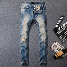 купить 2019 Newly Fashion Men Jeans Blue Color Vintage Retro Designer Slim Fit Ripped Jeans Balplein Brand Jeans Men Buttons Long Pants дешево