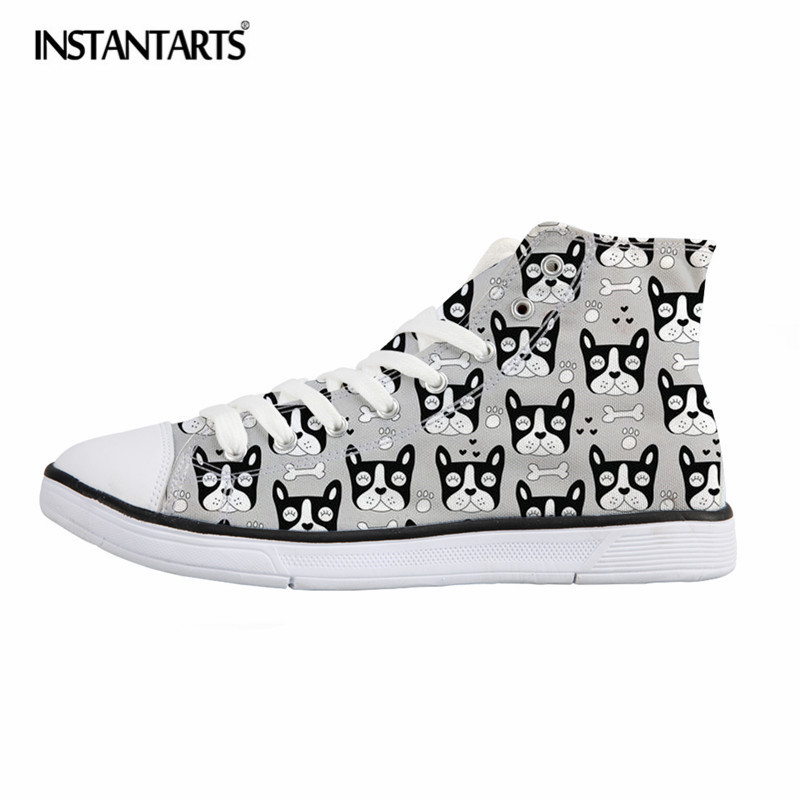 INSTANTARTS Classic Mens High Top Vulcanize Shoes French Bulldog Male Canvas Shoes Lace Up Men Students Boys High-top Sneakers