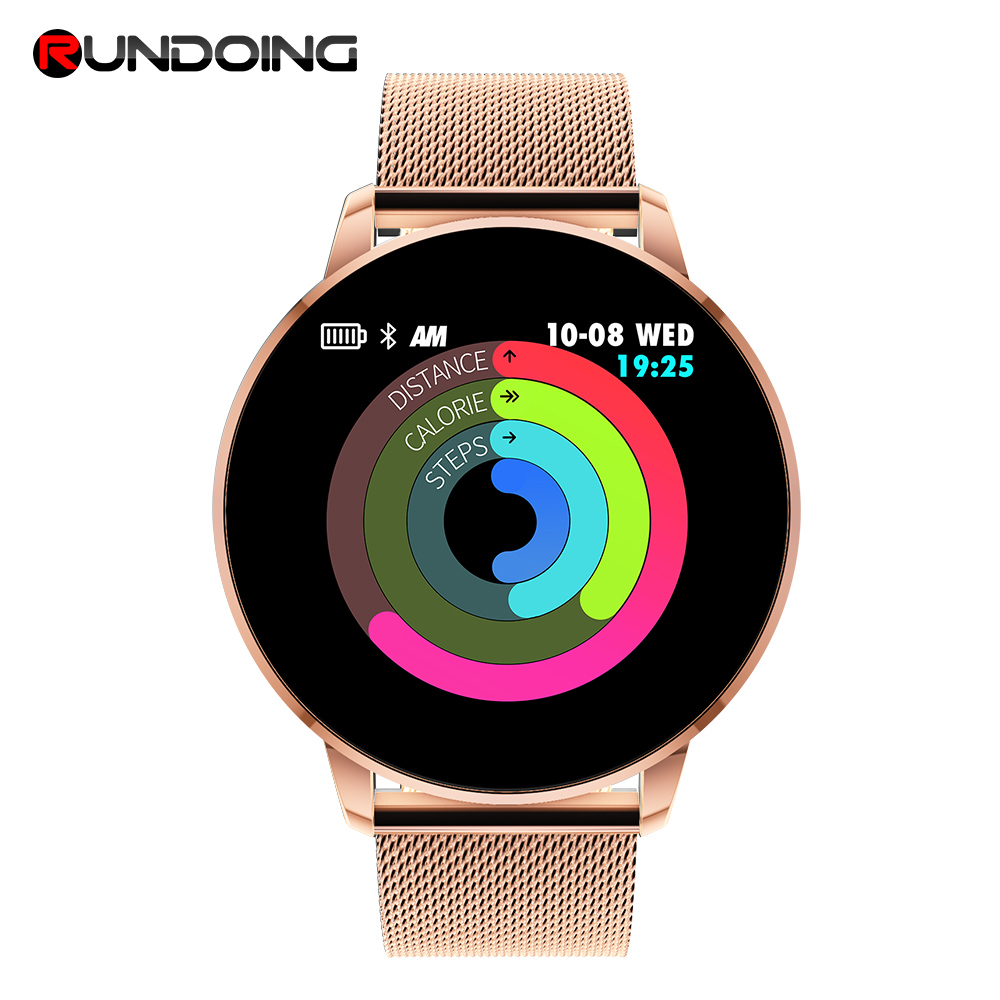 Rundoing Q8 Advanced 1.3 inch color screen fitness tracker smart watch heart rate monitor smartwatch men fashion new garmin watch 2019
