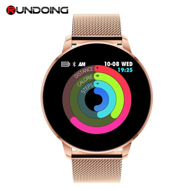 Rundoing Q8 מתקדם 1.3 אינץ צבע מסך כושר tracker smart watch קצב לב צג smartwatch גברים אופנה