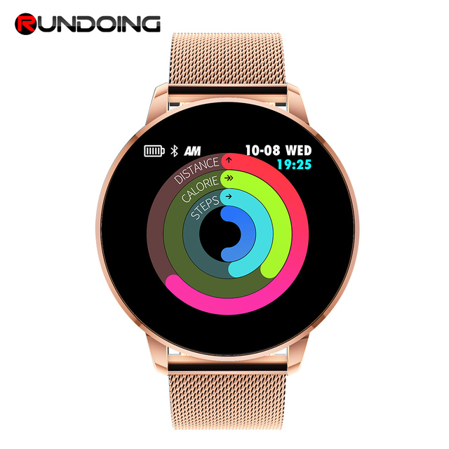 Rundoing Q8 advanced 1,3 pulgadas de pantalla a color fitness tracker smart watch monitor de ritmo cardíaco reloj de moda de los hombres PK V11