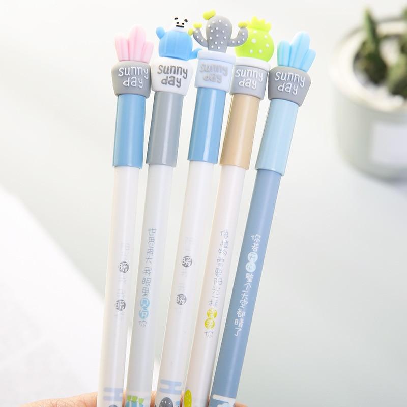 60 Pcs/lot Cactus gel effaçable Stylo stylo de signature Escolar Papelaria Fournitures de Bureau de L'école Cadeau Promotionnel