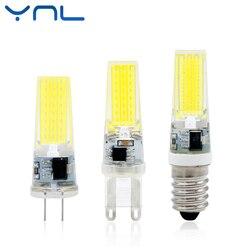 YNL 2017 Новый светодиодный светильник G4 G9 E14 AC/DC 12 V 220 V 3 W 6 W 9 W COB светодиодный G4 G9 Лампа с регулируемой яркостью для Хрустальная люстра