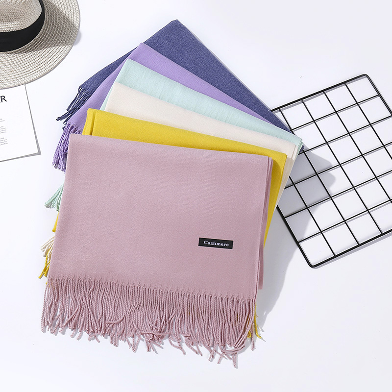 Summer Women Scarf Thin Shawls And Wraps Lady Long Solid Hijab Stoles Cashmere Pashmina Cashmere Shawl Autumn Head Scarves 2019