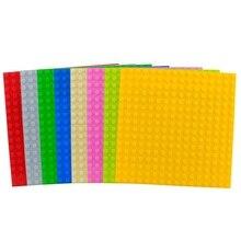 Blocos de tamanho grande placa base 16*16 pontos 25.5*25.5 cm tijolo placa sólida brinquedos para criança criança diy grande