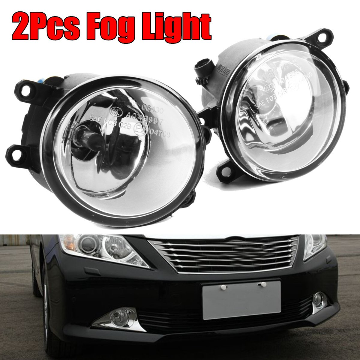 1 Pair Of Clear Fog Light Driving Lamp For TOYOTA CAMRY COROLLA TACOMA MATRIX YARIS 1set front chrome housing clear lens driving bumper fog light lamp grille cover switch line kit for 2007 2009 toyota camry