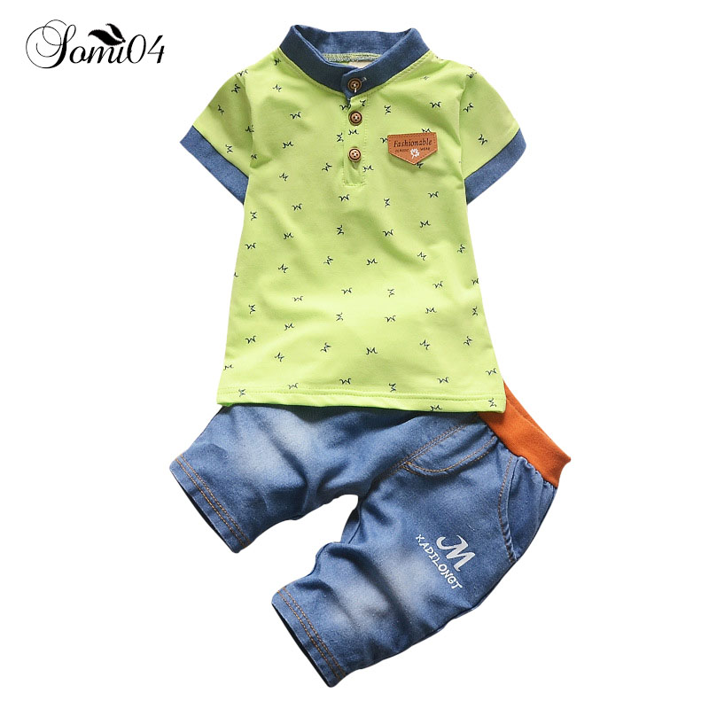 купить Children Baby Clothes Sets 2018 Little Boy Casual Short-sleeve T-shirt Fake Denim Pants Suit 1 2 3 4 Years Toddlers Kids Outfits по цене 1308.25 рублей
