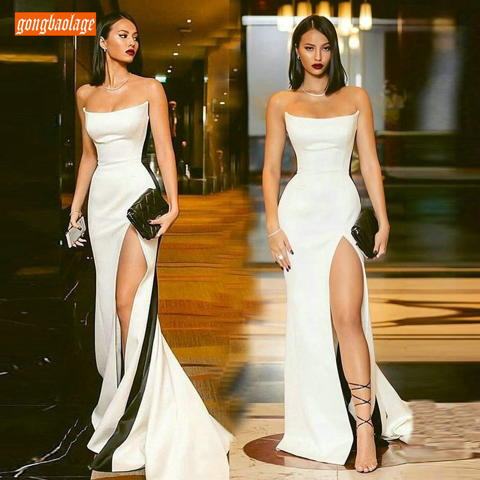 Elegant Ivory Formal Dress Women Evening Dresses Long 2019 Cheap Evening Gowns For Party Thin Stretch Fabric Spandex Real Photos