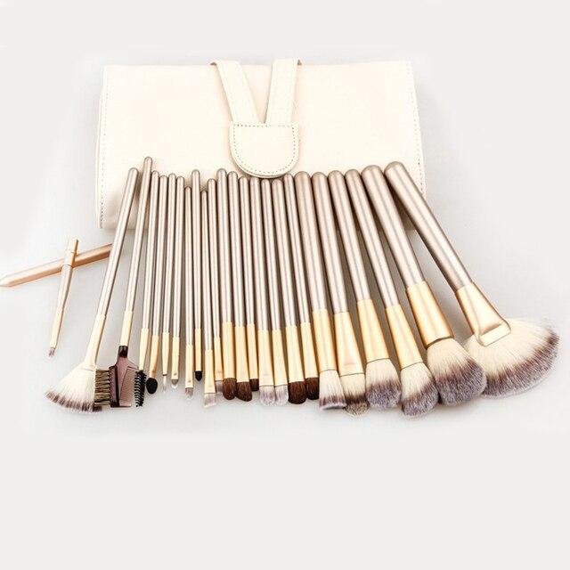 24 unids Pinceles de Maquillaje Profesional Set Kit con Estuche De Cuero de la Mujer Polvos Base maquillaje Delineador de Labios Belleza Herramienta Powder Brush