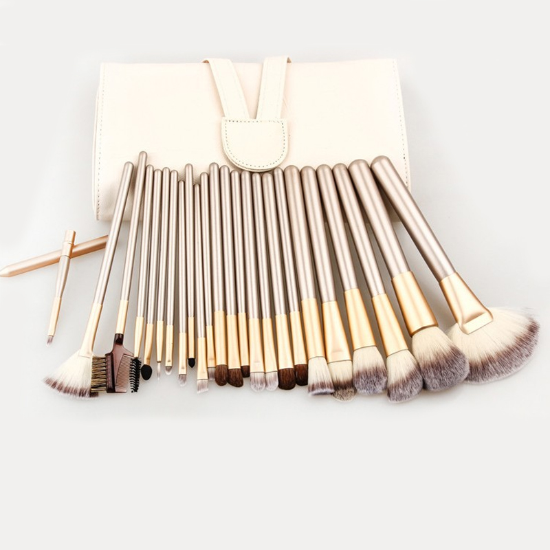 24pcs Professional Makeup Brushes Set Kit with Leather Case Woman's Foundation Powder Eyeliner Lip Beauty Tool Powder Brush high quality 18pcs set cosmetic makeup brush foundation powder eyeliner professional brushes tool with roll up leather case