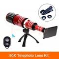 2017 lentes de telefone kit 80x de metal lente telefoto para samsung s3 s4 S5 S6 S7 borda Mais Telescópio Lentes olho de Peixe Macro Grande Angular