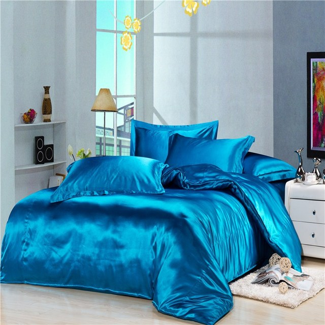 Luxury Blue Silk Satin Bedding Duvet Cover Comforter Sets