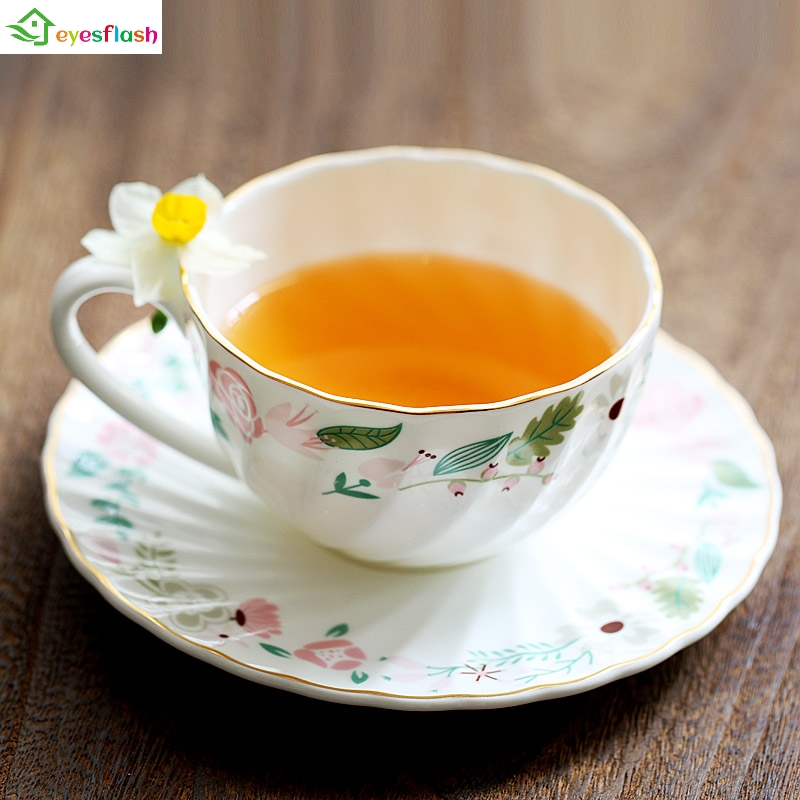 Europe Noble Bone China Top Grade Coffee Cup Set Ceramic Tea Mugs Saucer Spoon Porcelain On glazed Party Drinkware 200ml