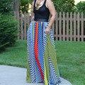 2016 Stripe Bohemian Verão Mulheres Vestidos Longos Tamanho Grande Até O Chão Vestidos Cortos Robe Femme Sexy Jurken Solto Vestido de Chiffon