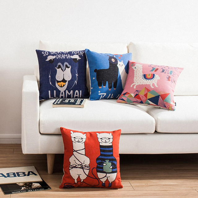 Exquisite Cushion Covers Linen Cotton Childlike Joy Blended Cartoon Alpaca Outdoor Pillows For Sofas Printing
