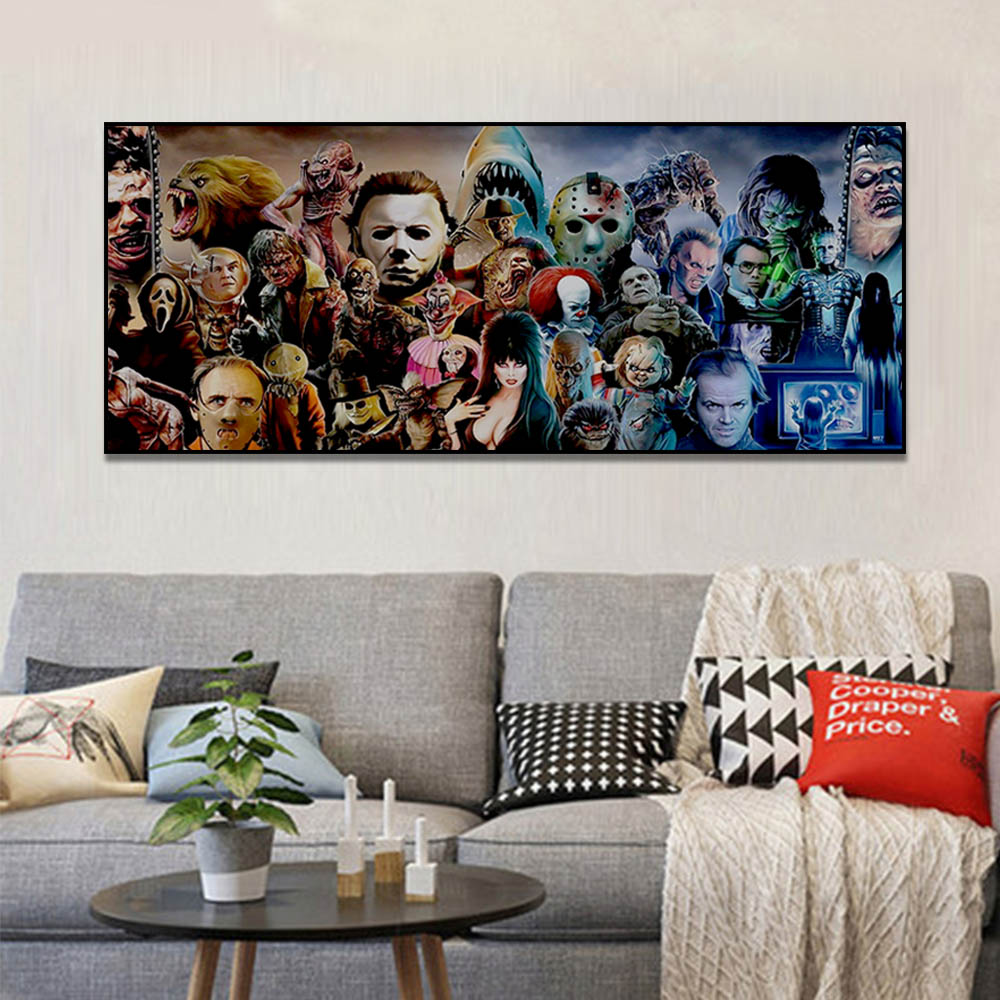 Unframed Canvas Painting Horror Movie Character Group Poster Prints Wall Pictures For Living Room Wall Art Decoration