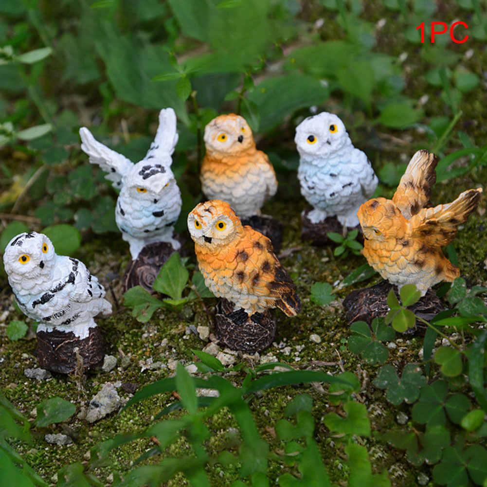 Outdoor Simulation Mini Patio Cute Home Micro Landscape Garden Decoration Miniature Craft Bonsai Resin Imitation Owl Gifts DIY