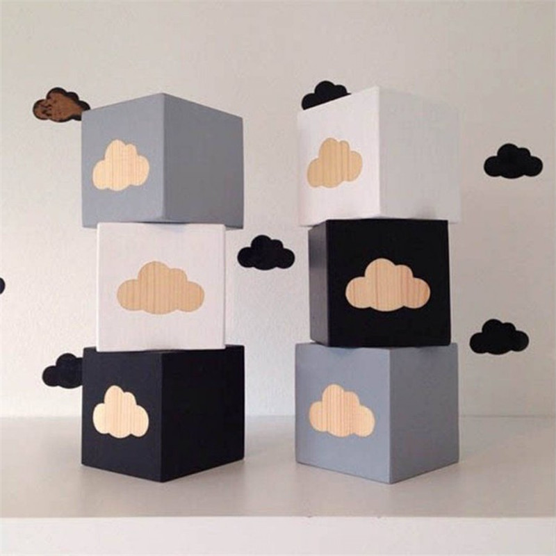 Brief Wooden Cloud Square Baby Crib Toy General Supplies Best Gifts For Kids Room Decorations Creative Wedding Ornament Crafts