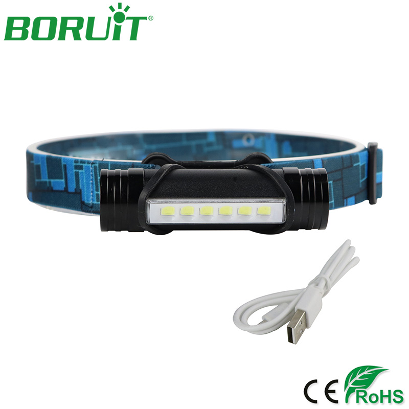 BORUiT 6 LED Headlamp Senter 3 Mode Taktis Torchlight USB Rechargeable Portabel Camping Berburu Headlight dengan Baterai