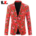 Milan Fashion Show Red Chinese National Style Men's Floral Suits Jacket Men Cotton Slim Fit Blazer Coat Trajes Plus Size M-4XL