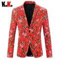 Milan Fashion Show Rojo Estilo Nacional Chino hombres Trajes Florales chaqueta de Los Hombres de Algodón Slim Fit Escudo Blazer Trajes Más Tamaño M-4XL