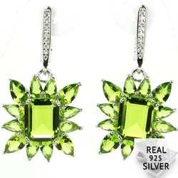 Реальные 8,6 г 925 Твердые стерлингового серебра Ravishing Зеленый Перидот кубического циркония женские серьги 38x21 мм