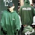 2017 Осень Толстовка Зеленый Polizei 16ss Вышитые Капюшоном С Буквы Мужчины Женщины Хип-Хоп Толстовки Уличной Городской Одежды