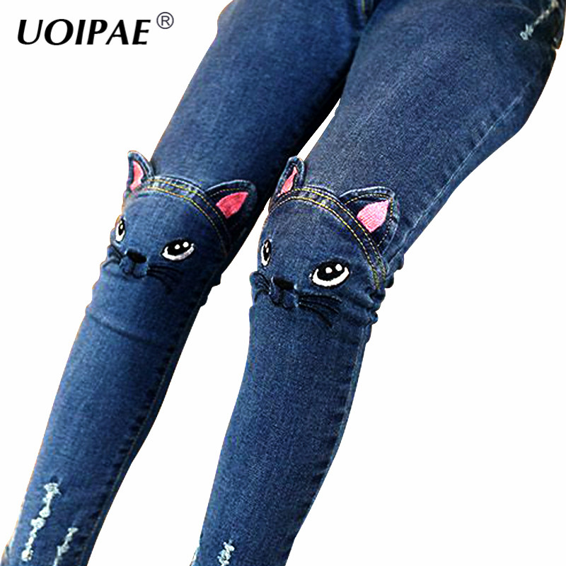 Girls Jeans 2018 Cartoon Cat Plus Size Baby Girls Pants Slim Skinny Kids Leggings Cotton Casual Children Girls Clothes 2507B wangcangli seven point jeans summer new slim was thin jeans for women blue girls stretching skinny jeans elastic large size