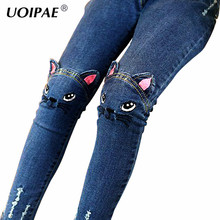 Girls Jeans 2018 Cartoon Cat Plus Size Baby Girls Pants Slim Skinny Kids Leggings Cotton Casual Children Girls Clothes 2507B