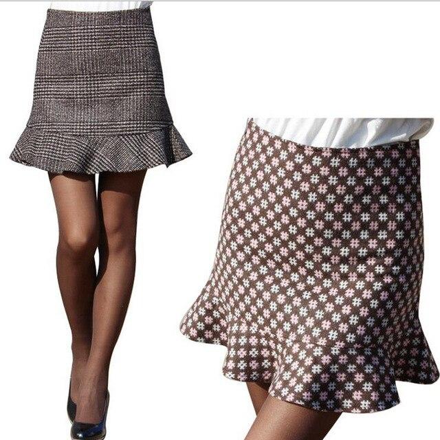 a700c677227 Volants nouvelle mode hiver jupes décontracté paquet hip femmes jupe courte  plaid imprimé rétro taille haute