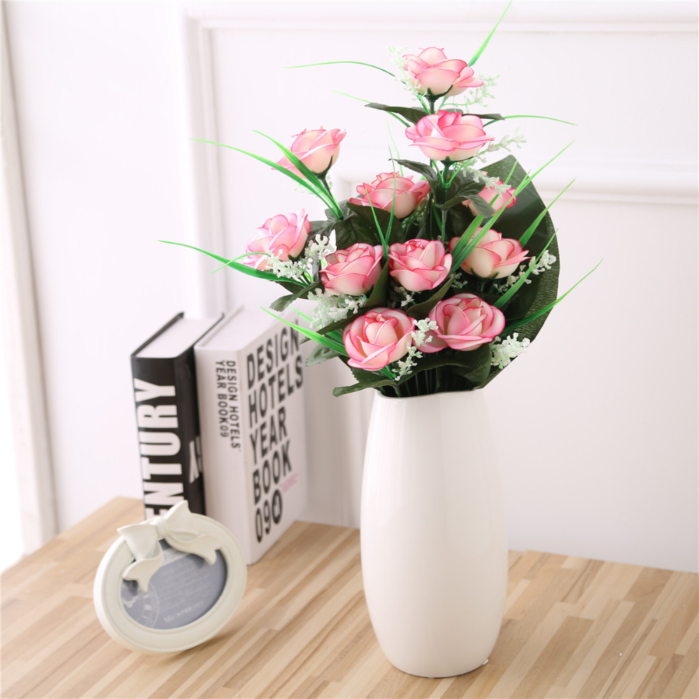 12 Heads Artificial Tea Rose Bridal Flower Bouquet For Wedding