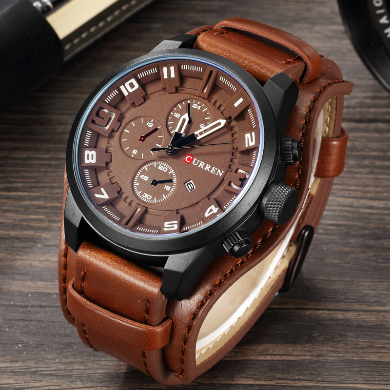 CURREN Mens Watches Top Brand Luxury Leather Analog Quartz Men Watch Military Sport Male Waterproof Wristwatch relogio masculino цена