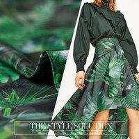 12 мм креп ткань тропических лесов зеленый Шелковый крепдешин дышащая ткань одежда платье Природа Шелковые ткани оптом