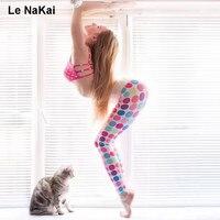 Colorido Dot Impresso Leggings Yoga Para As Mulheres De Fitness Calças Justas de Cintura Alta Elastic Gym Ornamento Patter Impressão Ativos Calças de Dança
