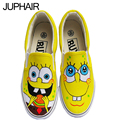 JUP Despicable Me Minion Hand Painted Canvas Shoes for Men Mans Boys Canvas Shoes Low To Help The Students With Spongebob Shoes
