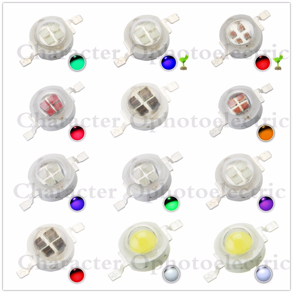 10pcs High Power LED Chip 5W LED SMD COB 5 W Natural Cool Warm White Red Blue Green Cyan Full Spectrum Grow Light Epistar