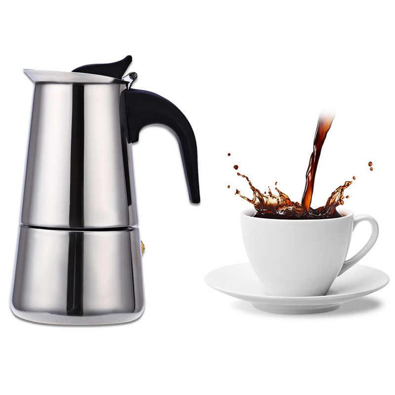 Портативная Кофеварка из нержавеющей стали Mocha Latte Percolator плита кофейник Эспрессо машина с 100 мл 200 мл 300 мл 450 мл