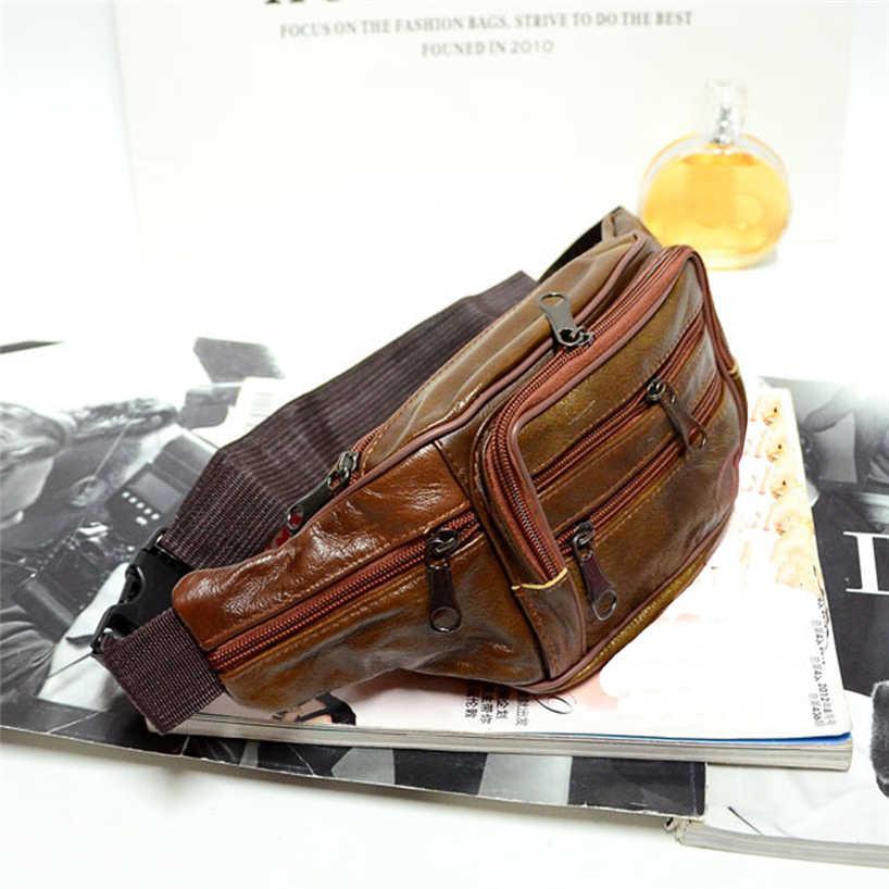 Aelicy Brust Taschen Männlichen Retro Qualität Wasserdicht Taille Pack Reise Lauf fanny tasche Öl Wachs Leder Männer Crossbody Gürtel Tasche